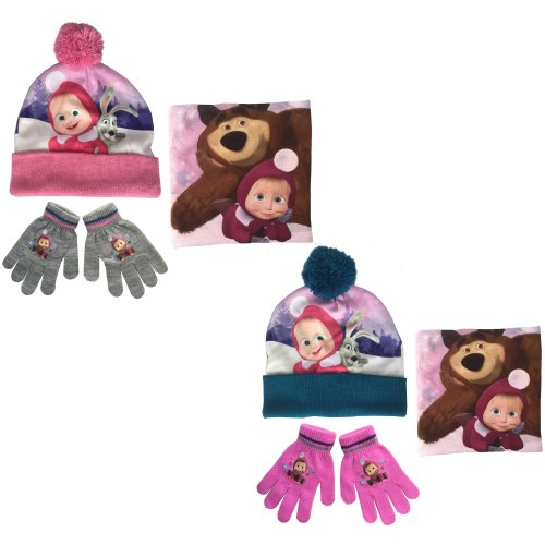 Masha and the Bear Hat, Snood and Gloves