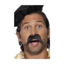 La Smiffy Frenchman Moustache - Noir -  moustache frenchman dress fancy black mens smiffys tash accessory beard