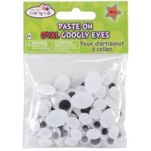 Paste-On Googly Eyes Assorted 10mm To 19mm 80/Pkg-Black