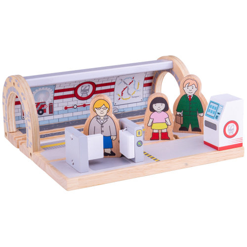 Bigjigs Rail Wooden Underground Station - Other Major Wood Rail Brands are Compatible