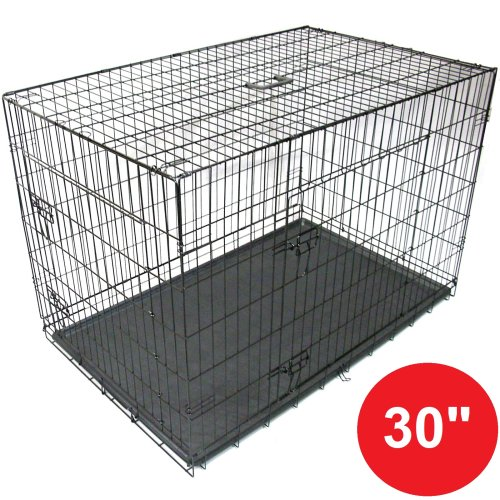 """Gr8 Home Black 30"""" Pet Cages Metal Dog Cat Puppy Carrier Crate Tray"""