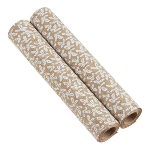 Saro Lifestyle GL210.N Holly Garland Fabric Rolls - Natural, Set of 2