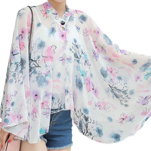 Sun Protective Clothing - Summer Chiffon Shawl Beach Coats Jackets-A2