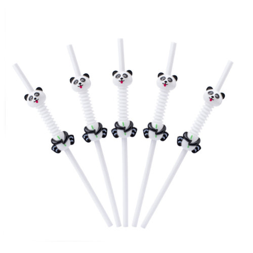 Disposable Straws Flexible Drinking Straws Panda Shape 10 Pcs