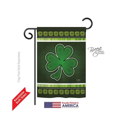 Breeze Decor 52026 St Pats Shamrock 2-Sided Impression Garden Flag - 13 x 18.5 in.