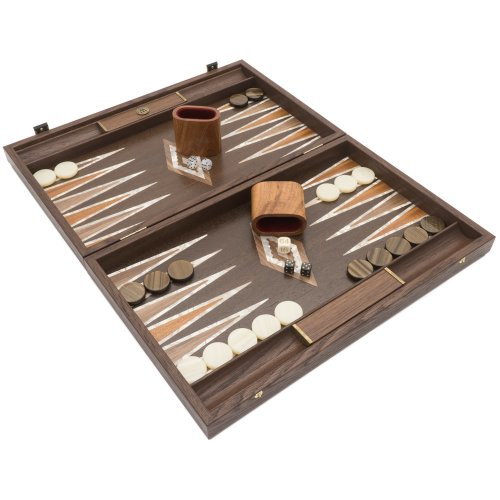 The Manopoulos Natural Burl and Wenge Luxury Backgammon Set with Luxury Cups