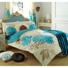 Kew teal blue and cream cotton blend duvet cover