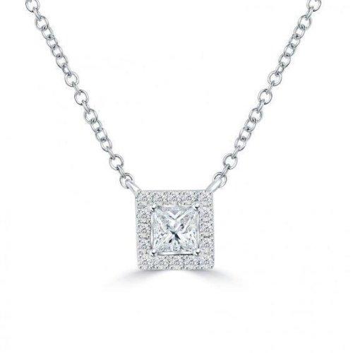 2.60 Carats F Vs1/Vvs1 Round Cut Diamond Necklace Pendant Gold White 14K