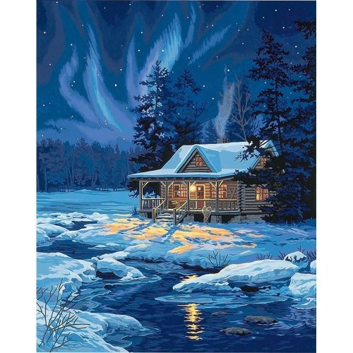 Dpw91223 - Paintsworks Paint by Numbers - Moonlit Cabin
