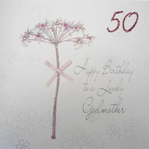 WHITE COTTON CARDS Bd42 50 Dandelion Happy Birthday To A Lovely Godmother Handmade 50th Card White On OnBuy