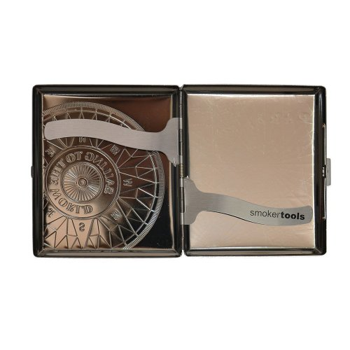 SMOKERTOOLS 18th century style metal cigarette case in chrome antique compass design with clips