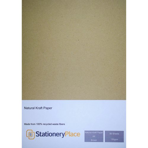Stationery Place Kraft Paper A4 130 GSM Brown 100% Recycled 50 Sheet Pack