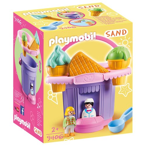 Playmobil 9406 Sand Ice Cream Shop Sand Bucket with Sieve and Waffle Molds