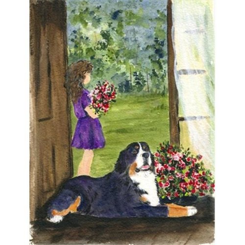 Little Girl with her Bernese Mountain Dog Flag - Garden Size, 11 x 15 in.