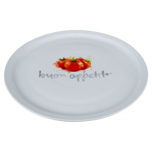 Italia Pizza Plate, Porcelain, White