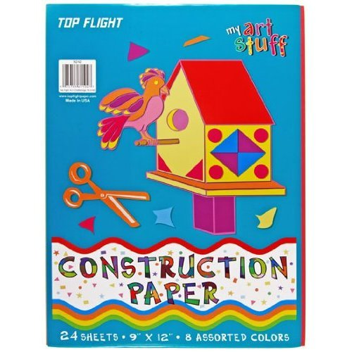 Top Flight Construction Paper Assorted Colors 9 x 12 Inches 24 Sheets Polywrapped 61104