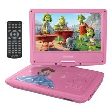 """DBPOWER 9"""" DVD Player, Swivel Screen, 3 Hours Rechargeable Battery, Pink"""
