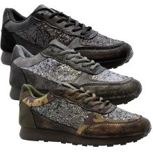 Womens Glitter Running Lace Up Light Comfy Trainer