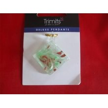 Trimits Glass Pendant - Green Swirl Square