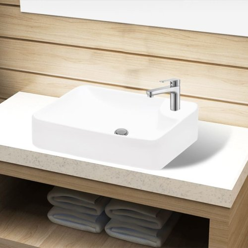 Ceramic Bathroom Sink Basin with Faucet Hole White