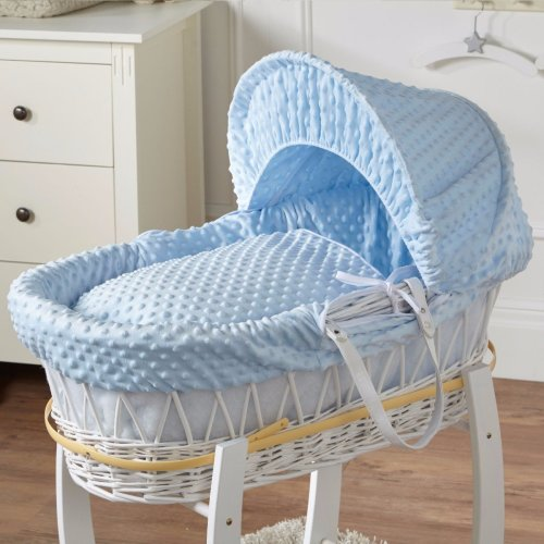 Wicker Dimple Moses Basket Set With Mattress And Bedding White Wicker Blue Dimpl