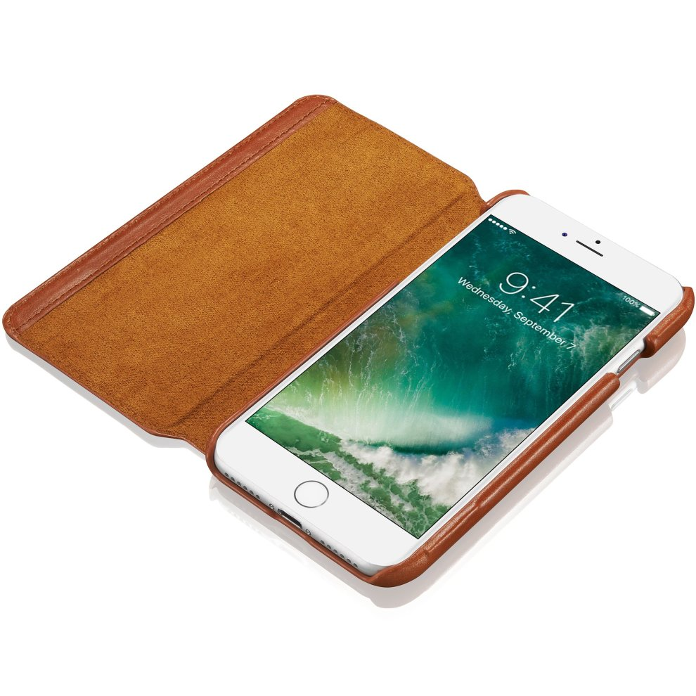 brand new a8ebe 5b458 KAVAJ iPhone 8 iPhone 7 Case Leather Dallas Cognac-Brown Slim-Fit Genuine  Leather iPhone 8 Wallet Case Leather Flip Case Folio With Business Card...