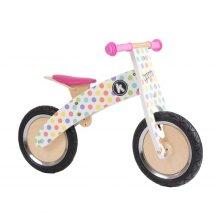 Kiddimoto Kids Kurve Wooden Balance Bike - Pastel Dotty Design
