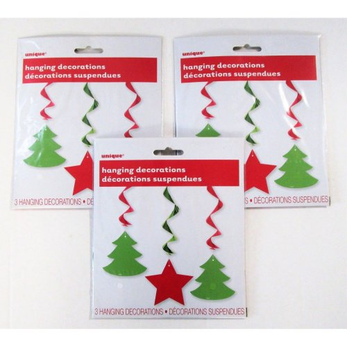 Pack of 9 Hanging Christmas Swirl Decorations - Xmas Party Decoration on OnBuy
