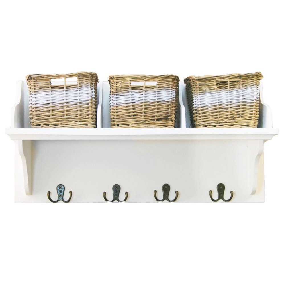 white wall mounted storage shelf wall unit with baskets hooks on onbuy. Black Bedroom Furniture Sets. Home Design Ideas