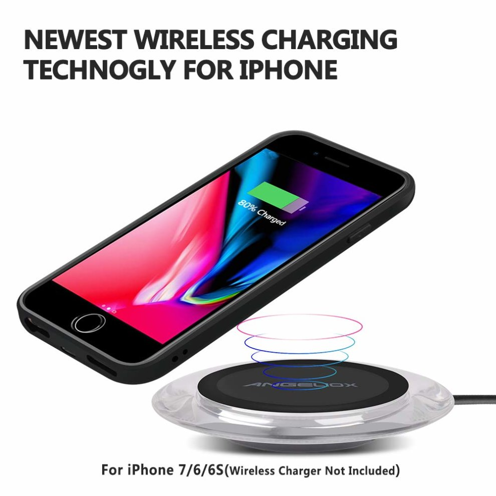 timeless design 8ad92 227da ANGELIOX Wireless Charging Receiver Case,Qi Wireless Charger Phone Case  Back Cover with Charging Port Support Wired Charging for iPhone 7/6 /6S...