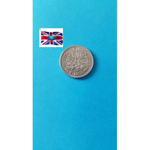 Great Britain 6 Pence - Elizabeth II 1st portrait; no 'BRITT:OMN'