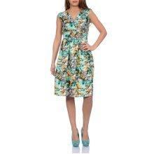 Martildo Fashion, Ladies Knee Length Floral Print Crossover Dress, Green 2, Small (UK 8-10)