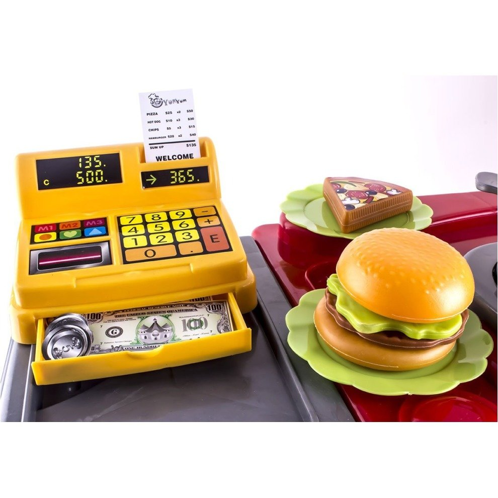 DeAO Toys Kids' 2-in-1 Kitchen & Fast Food Stall Role Play