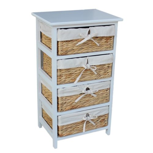 Water Hyacinth 4 Basket Drawer finished in White