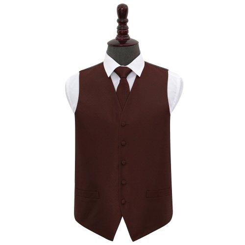 Burgundy Greek Key Wedding Waistcoat & Tie Set 50'