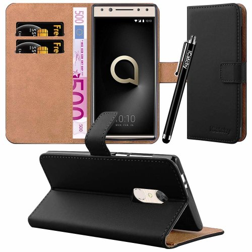 For Alcatel 5 Leather Wallet Flip Case Cover