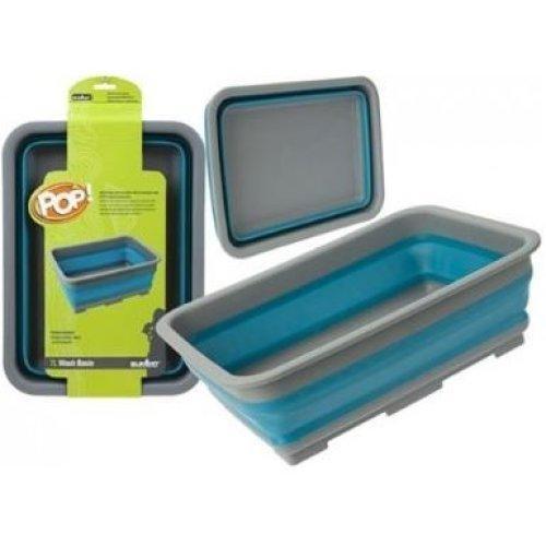 Summit Pop Folding Wash Basin Blue Camping Caravan Hygeine Sink Portable - Up -  summit pop wash basin folding blue camping caravan up