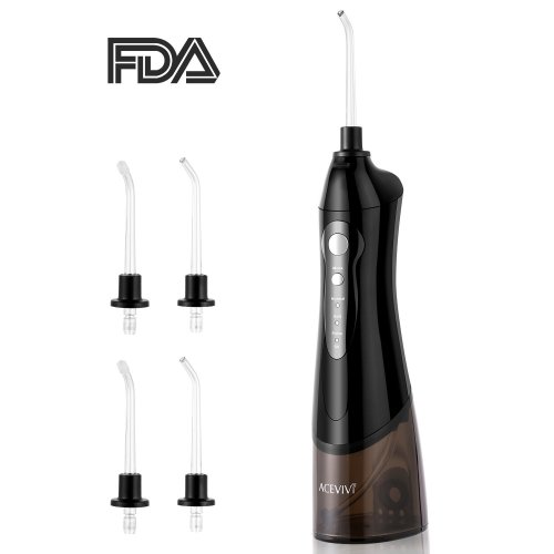 Guisee Water Flosser Oral Irrigator for Teeth and Braces Rechargeable Cordless Portable with 4 Jet Tips, 180ml Water Tank Black