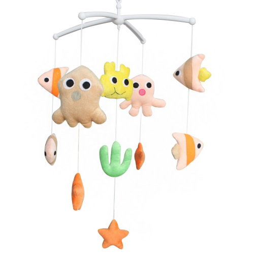 Adorable Baby Crib Decoration Music Mobile [Marine Life] Cute Bed Bell
