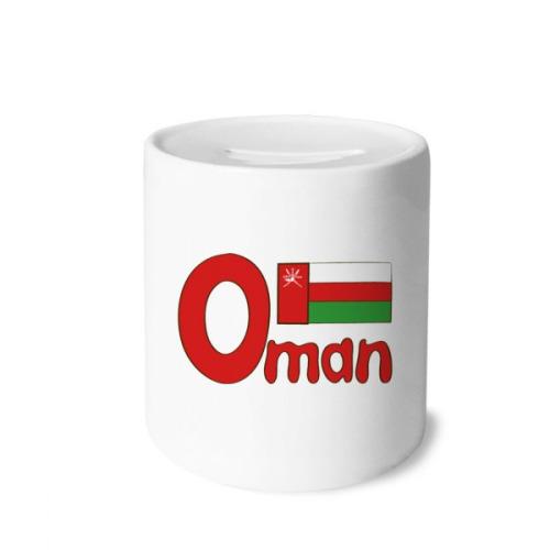 Oman National Flag Red Green Pattern Money Box Saving Banks Ceramic Coin Case Kids Adults