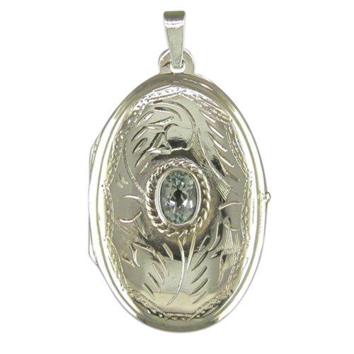 Sterling Silver Blue Topaz Set Large Oval Locket On A Snake Necklace