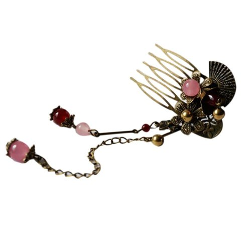 Set Of 2 Charming Traditional Chinese Wedding Pink Bead Hair Combs Accessory