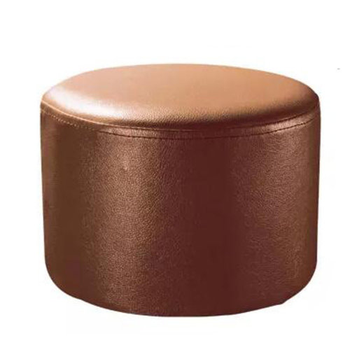 Round Faux Leather Modern Small Stool Shoes Stool  Sofa Pier Ottoman Stool, Light Brown