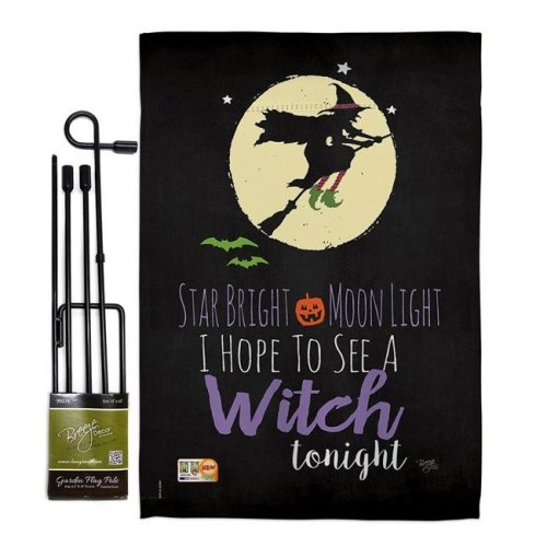 Breeze Decor BD-HO-GS-112073-IP-BO-D-US18-SB 13 x 18.5 in. Star Bright Fall Halloween Vertical Double Sided Mini Garden Flag Set with Banner Pole
