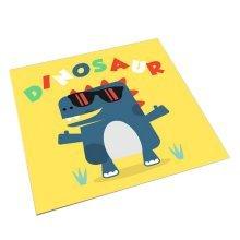 Square Cute Cartoon Children's Rugs, Yellow And Cartoon Dinosaurs