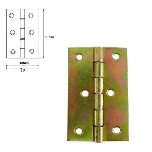 5 Pcs Folding Closet Cabinet Door Butt Hinge Brass Plated 60x43mm