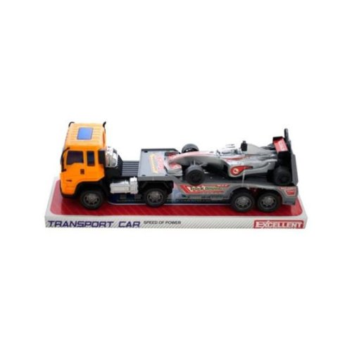 Kole Imports KL243-16 11 x 2.87 in. Friction Powered Trailer Truck with Race Car, Pack of 16