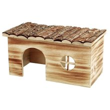 Trixie Grete Natural Living Flamed Wood House, 35 x 18 x 20cm - House Guinea -  trixie house guinea pig grete rabbit toy treats dental chews manger