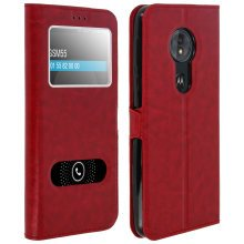 Double window flip standing case for Motorola Moto G6 Play with TPU shell - Red