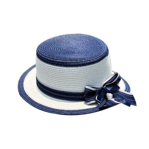 Womens Sun Straw Hat with Bow Belt Girls Sun Protection Short Brim Hats, Blue